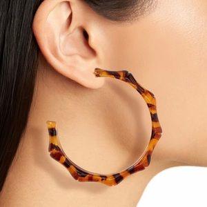 BP. Tortoise hoop earrings in a bamboo style NWT